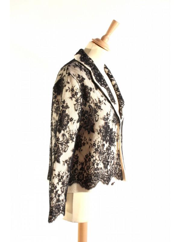 Veste Secondemaindeluxe Dior Dentelle 42 Noire Taille 4wPqwgTxU