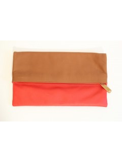 Pochette Fendi cuir rouge marron