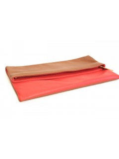 Pochette Fendi cuir rouge marron