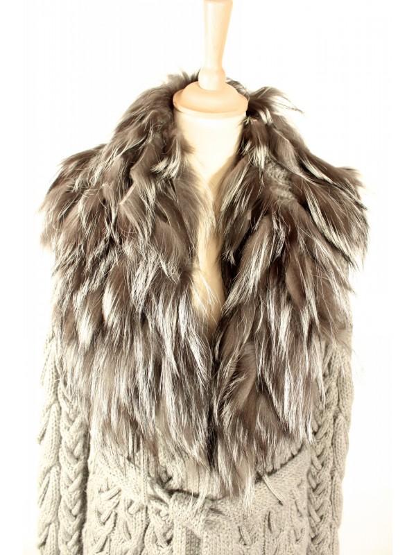 5b045d023bce ... Veste gilet Gucci laine et fourrure gris taille S ...