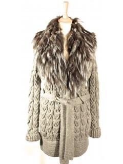 Veste gilet Gucci laine et  fourrure gris taille S