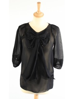 Top Maje noir voile taille 1