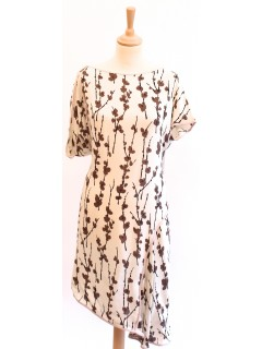 Robe Marni fleurs taille 38 blanche et taupe